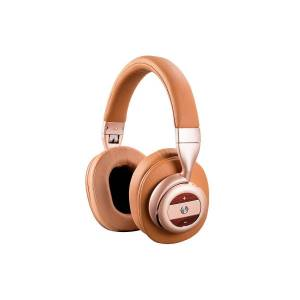 Monoprice SonicSolace Active Noise Cancelling Bluetooth Wireless Over the Ear Headphones, Champagne with Tan
