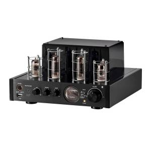 Monoprice 25 Watt Stereo Hybrid Tube Amplifier 2019 Edition with Bluetooth, Optical, Coaxial, and USB Inputs, and Subwoofer Out