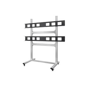 Monoprice Commercial Series 2x2 Video Wall Mount Bracket System Rolling Display Cart with Micro Adjustment Arms For LED TVs 32in to 55in, Max Weight 1