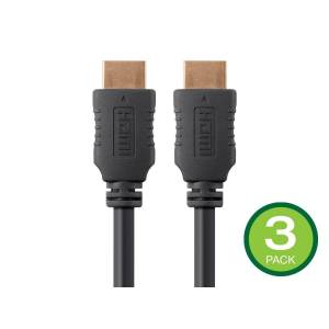 Monoprice 4K High Speed HDMI Cable 20ft - 18Gbps Black - 3 Pack