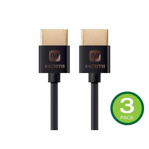 Monoprice 4K Slim High Speed HDMI Cable 6ft - 18Gbps Black - 3 Pack
