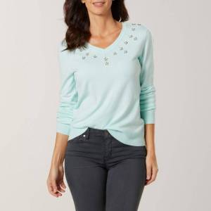 Scott Laura Scott Women's Embellished V-Neck Sweater, Size: Small, Icy Morn