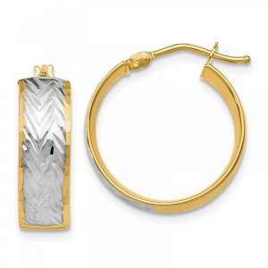 Sears 5.9mm 14k Yellow Gold Hinged post With White Rho. Polished and Sparkle-Cut Hinged Hoop Earrings, White gold