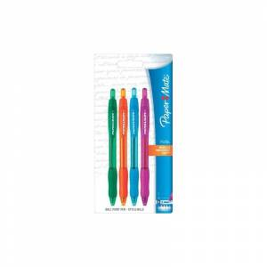 Paper-Mate 1968438 Profile Retractable Ballpoint Pens, 4 Colored Ink Pens