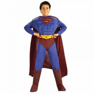 rUBIE'S COSTUME COMPANY Boys Superman Classic Muscle Chest Halloween Costume, Size: Large, blue