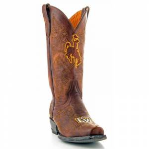 Gameday Boots Men's University of Wyoming Leather Boots - Wide Width, Size: 12, Brass