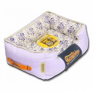 CAM CONSUMER PRODUCTS, INC Touchdog 70's Vintage-Tribal Throwback Diamond Patterned Ultra-Plush Rectangular Rounded Dog Bed, Lavender Purple, Blue,