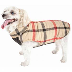 Pet Life Allegiance' Classical Plaided Insulated Dog Coat Jacket, White And Red Plaid