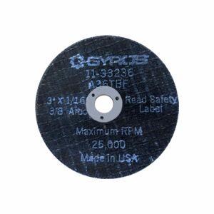 "Gyros ""Gyros 11-33236/25 Type 01 Reinforced Aluminum Oxide Cut-Off Wheels 3""x 1/16"" (3/8"" Arbor) A36TBF Pack of 25, aluminum"""