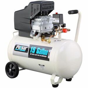 Pulsar 15 Gallon Horizontal Oil-Lube Air Compressor w/ Mobility Kit, White/Black