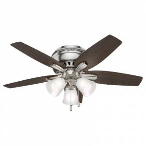 "Hunter ""Hunter 51079 42"" Newsome Brushed Nickel Ceiling Fan with Light Kit"""