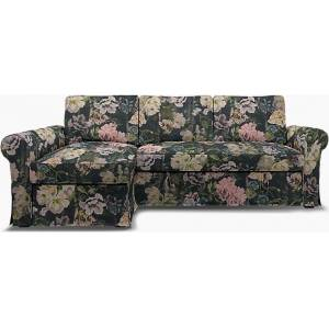 Bemz IKEA - Backabro Sofabed with Chaise Cover, Delft Flower - Graphite, Linen - Bemz