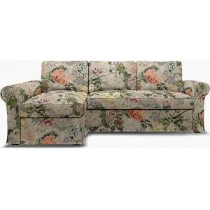 Bemz IKEA - Backabro Sofabed with Chaise Cover, Delft Flower - Tuberose, Linen - Bemz