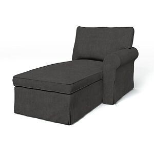Bemz IKEA - Ektorp Chaise with Right Armrest Cover, Espresso, Linen - Bemz