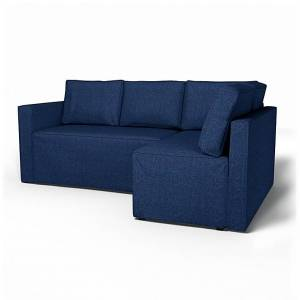 Bemz IKEA - Fågelbo Sofa Bed with Right Chaise Cover, Deep Navy Blue, Conscious - Bemz