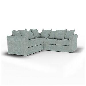 Bemz IKEA - Grönlid 4 Seater Corner Sofa Cover, Celadon, Velvet - Bemz