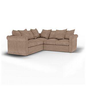 Bemz IKEA - Grönlid 4 Seater Corner Sofa Cover, Pebble, Velvet - Bemz