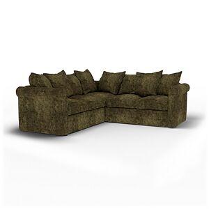Bemz IKEA - Grönlid 4 Seater Corner Sofa Cover, Olive, Velvet - Bemz