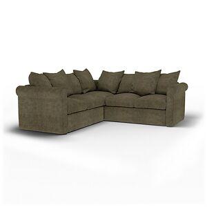 Bemz IKEA - Grönlid 4 Seater Corner Sofa Cover, Sage, Velvet - Bemz