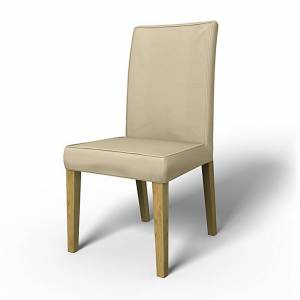 Bemz IKEA - Henriksdal Dining Chair Cover with piping (Large model), Sand Beige, Cotton - Bemz