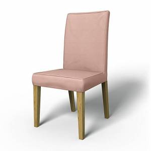Bemz IKEA - Henriksdal Dining Chair Cover with piping (Large model), Rose, Linen - Bemz