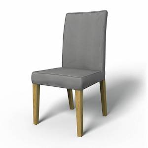 Bemz IKEA - Henriksdal Dining Chair Cover with piping (Large model), Zinc Grey, Cotton - Bemz