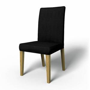 Bemz IKEA - Henriksdal Dining Chair Cover with piping (Standard model), Jet Black, Conscious - Bemz