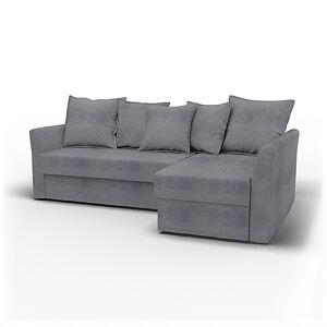 Bemz IKEA - Holmsund Sofabed with Chaiselongue, Zinc Grey, Velvet - Bemz