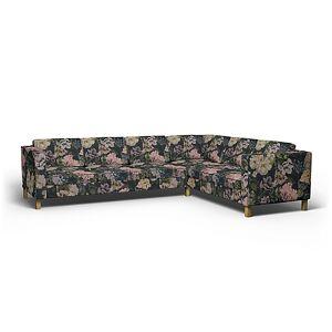 Bemz IKEA - Karlanda Corner Sofa Cover (3+2), Delft Flower - Graphite, Linen - Bemz