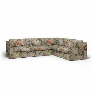 Bemz IKEA - Karlstad Corner Sofa Cover (3+2), Delft Flower - Tuberose, Linen - Bemz
