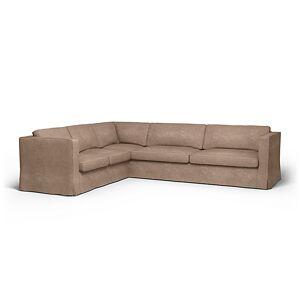 Bemz IKEA - Karlstad Corner Sofa Cover (2+3), Pebble, Velvet - Bemz