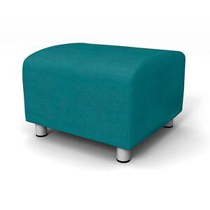 Bemz IKEA - Klippan Footstool Cover, Teal Blue, Velvet - Bemz