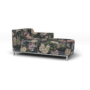 Bemz IKEA - Kramfors Chaise Longue with Right Arm Cover, Delft Flower - Graphite, Linen - Bemz