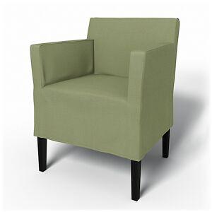 Bemz IKEA - Nils Dining Chair with Armrests Cover, Olive, Linen - Bemz