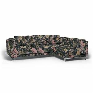 Bemz IKEA - Nockeby 3 Seat Sofa with Right Chaise Cover, Delft Flower - Graphite, Linen - Bemz