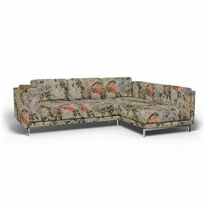 Bemz IKEA - Nockeby 3 Seat Sofa with Right Chaise Cover, Delft Flower - Tuberose, Linen - Bemz