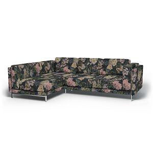 Bemz IKEA - Nockeby 3 Seater Sofa with Left Chaise Cover, Delft Flower - Graphite, Linen - Bemz