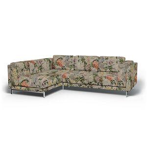 Bemz IKEA - Nockeby 3 Seater Sofa with Left Chaise Cover, Delft Flower - Tuberose, Linen - Bemz