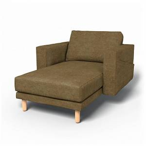 Bemz IKEA - Norsborg Stand Alone Chaise with Arms Cover, Acorn, Velvet - Bemz