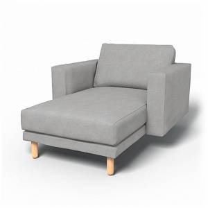 Bemz IKEA - Norsborg Stand Alone Chaise with Arms Cover, Zinc, Velvet - Bemz