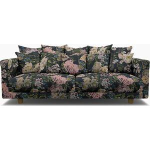 Bemz IKEA - Stockholm 2017 3 Seater Sofa Cover, Delft Flower - Graphite, Linen - Bemz