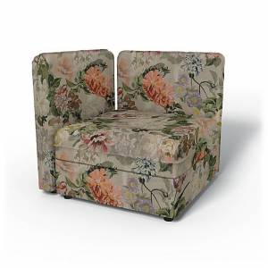 Bemz IKEA - Vallentuna Seat Module with Low Back and Storage Cover 80x80cm 32x32in, Delft Flower - Tuberose, Linen - Bemz