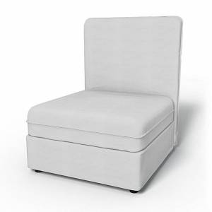 Bemz IKEA - Vallentuna Seat Module with High Back and Storage Cover 80x100cm 32x39in, Silver Grey, Cotton - Bemz