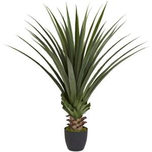 Nearly Natural 4'H Plastic Spiked Agave Plant With Pot, Green