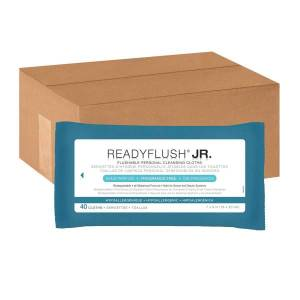 """No Brand ReadyFlush Flushable Wipes, Unscented, 8"""" x 7"""", White, 40 Wipes Per Pack, Case Of 24 Packs"""