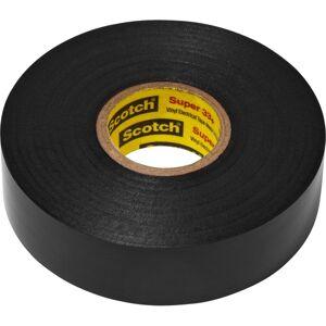 "Scotch Super 33 Plus Vinyl Electrical Tape - 22 yd Length x 0.75"" Width - Rubber - Vinyl Backing - 10 / Carton - Black"