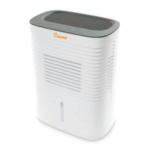 """Crane 4 Pint Compact Dehumidifier with Timer Function, 300 Sq Ft. Coverage, 5 1/2"""" x 9"""" x 12"""", White"""