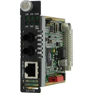 Perle C-1110-M2ST05 Gigabit Ethernet Media and Rate Converter - 1 x Network (RJ-45) - 1 x ST Ports - 1000Base-SX, 10/100/1000Base-T - Internal