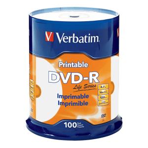 Verbatim DVD-R 4.7GB 16X Life Series White Inkjet Printable, Hub Printable - 100pk Spindle