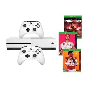 Microsoft Xbox One S Pro Sports Console Bundle With 2 Controllers/NBA 2K20/FIFA 20/Madden NFL 20, 1TB, White